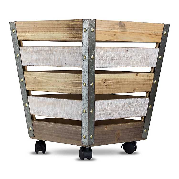 Product Details Weathered Wood Slat Crate With Wheels