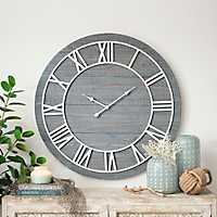 Ava Vintage Blue Wood Wall Clock