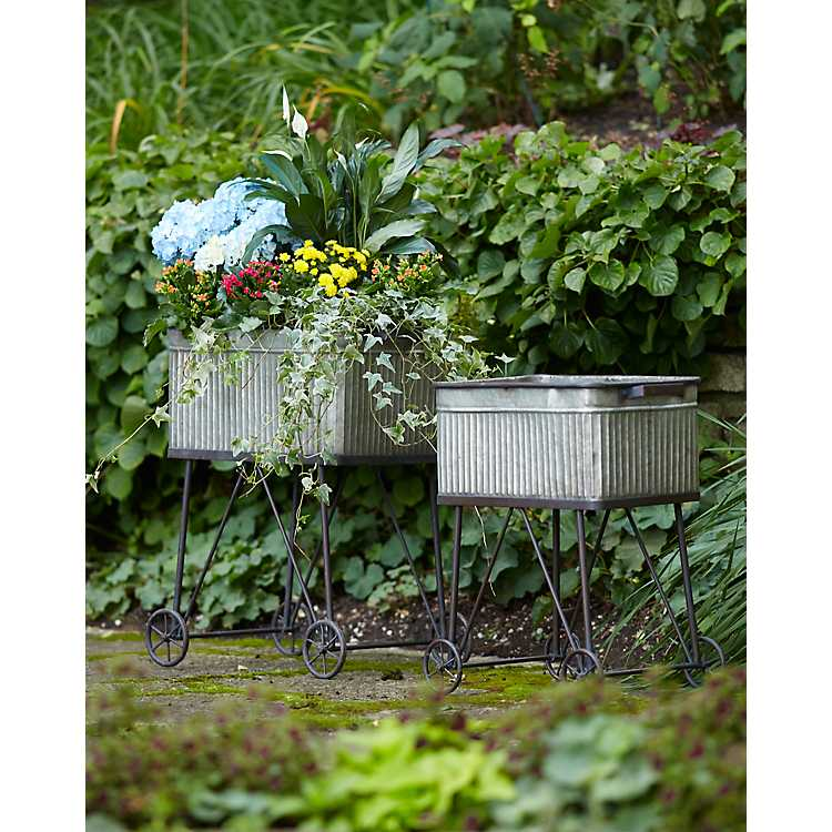 Miraculous Galvanized Wash Tub Planters With Wheels Set Of 2 Evergreenethics Interior Chair Design Evergreenethicsorg