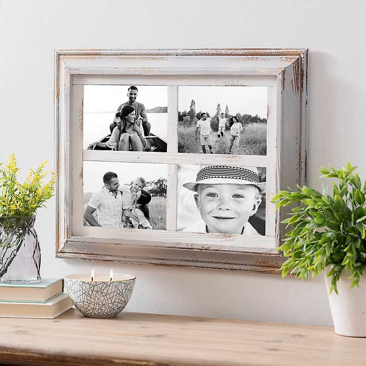 4-Opening Square Gray and White Collage Frame | Kirklands