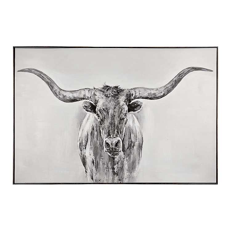 Black and White Longhorn Framed Art Print   Kirklands