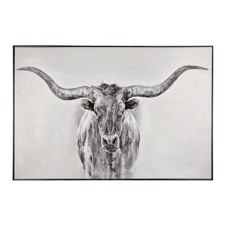 Black and white longhorn framed art print