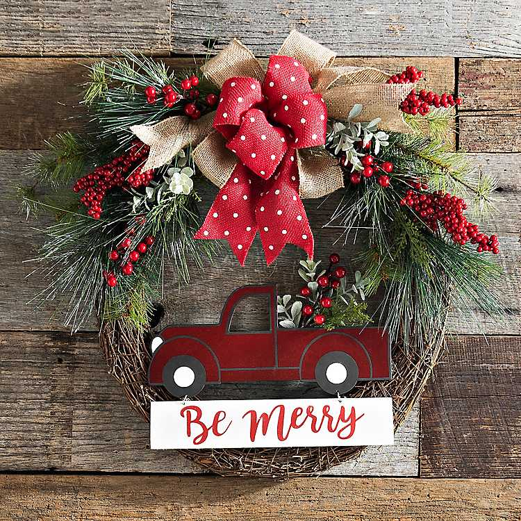 red christmas truck pine wreath