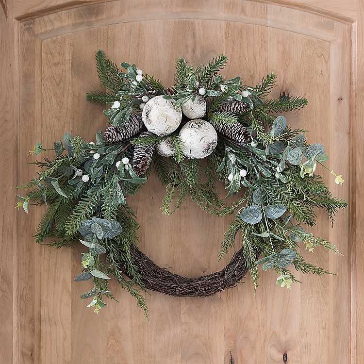 Birch and Pine Cone Christmas Wreath | Kirklands