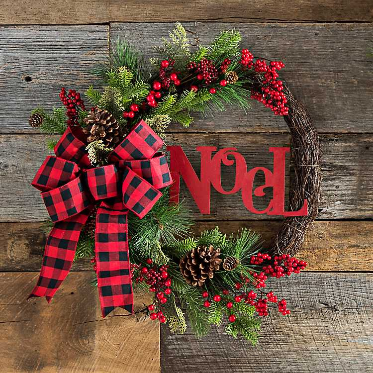 Buffalo Check Christmas Wreath.Noel Red Buffalo Check Bow Wreath