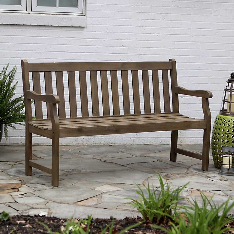 Hudson Brushed Gray 3 Seat Outdoor Bench ...