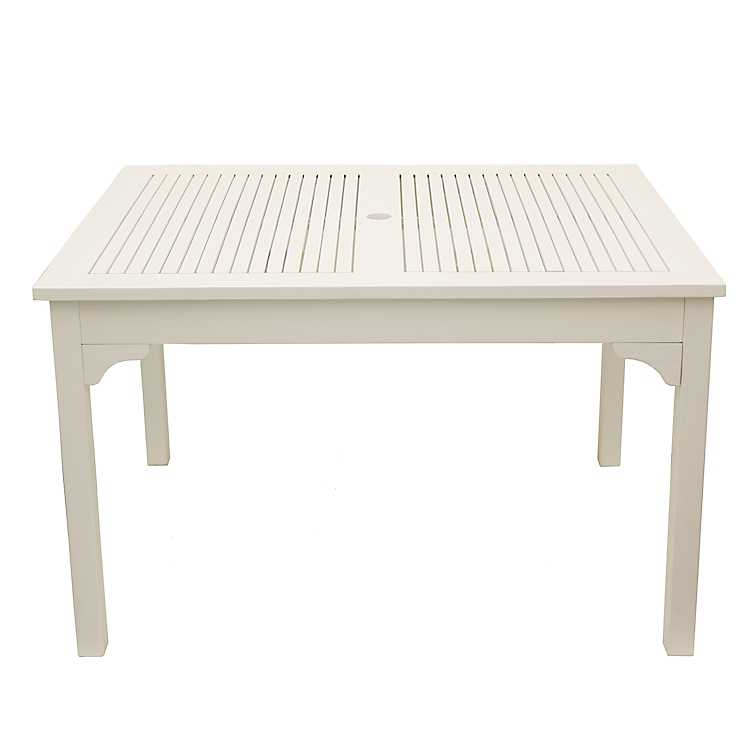 White Wooden Square Outdoor Table ...