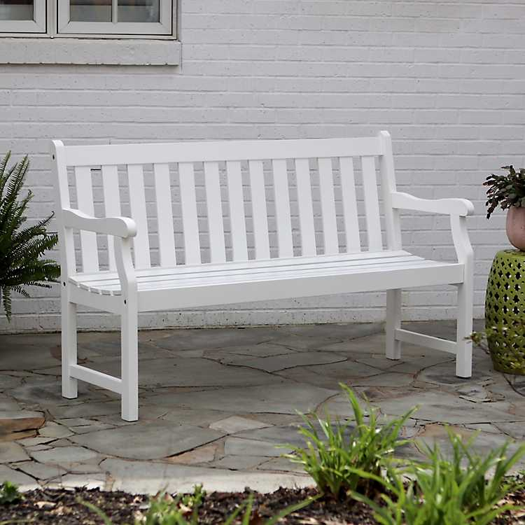 Hudson Slatted White 3 Seat Outdoor Bench ...