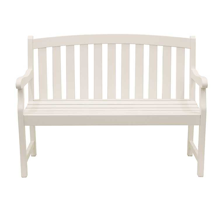 Excellent White Myles Rounded Back Outdoor Bench Pabps2019 Chair Design Images Pabps2019Com