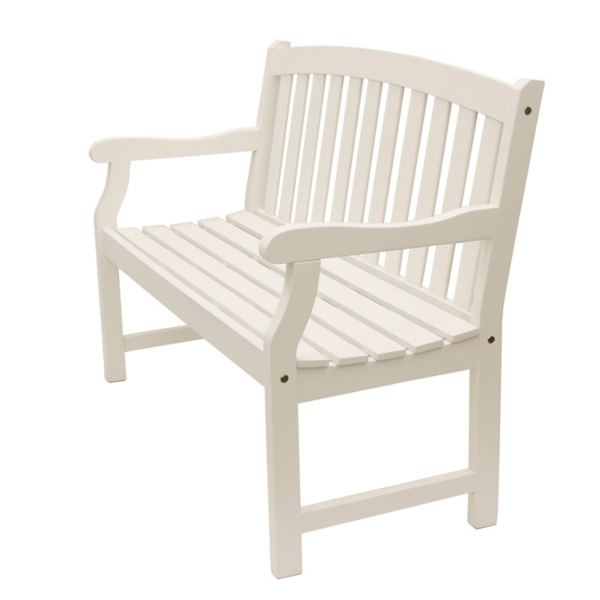 Prime White Myles Rounded Back Outdoor Bench Kirklands Pabps2019 Chair Design Images Pabps2019Com