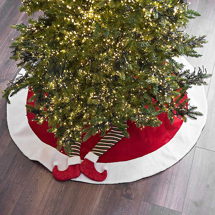 elf legs velvet christmas tree skirt
