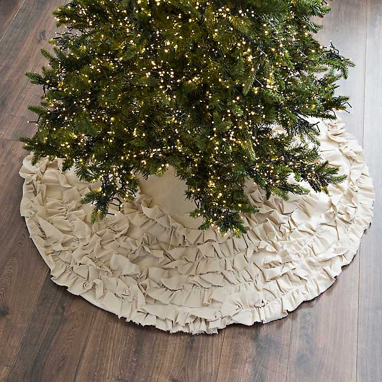 Kirklands Christmas.Cream Ruffle Christmas Tree Skirt