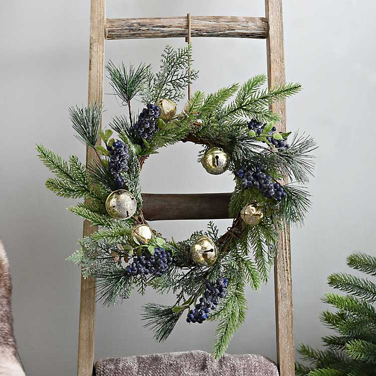 Blueberry and Gold Bell Christmas Wreath | Kirklands