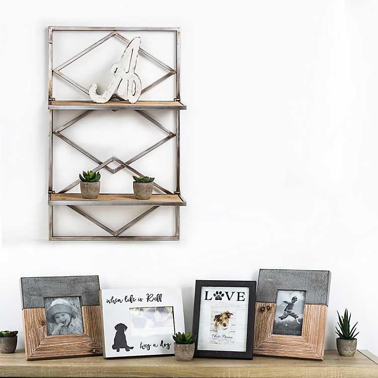 Diamond Design Wood And Metal Hanging Shelves Rack
