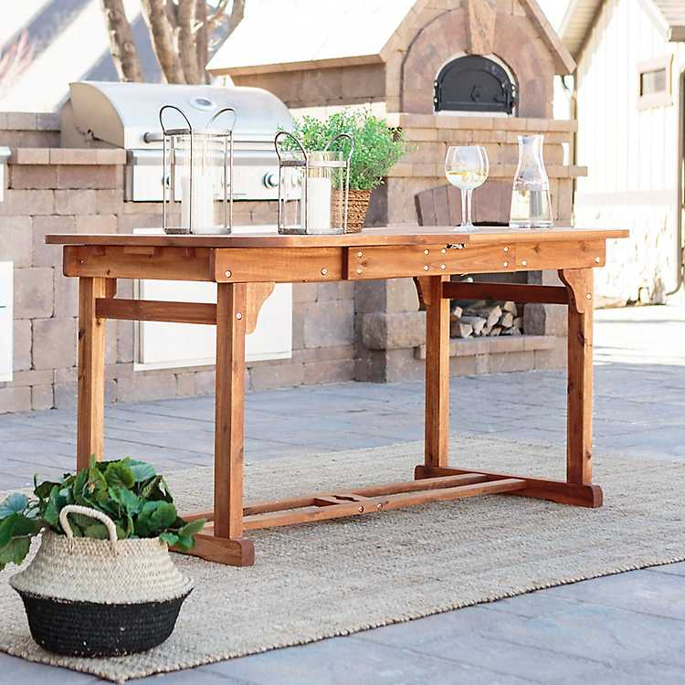 Acacia Brown Wood Butterfly Patio Dining Table ...