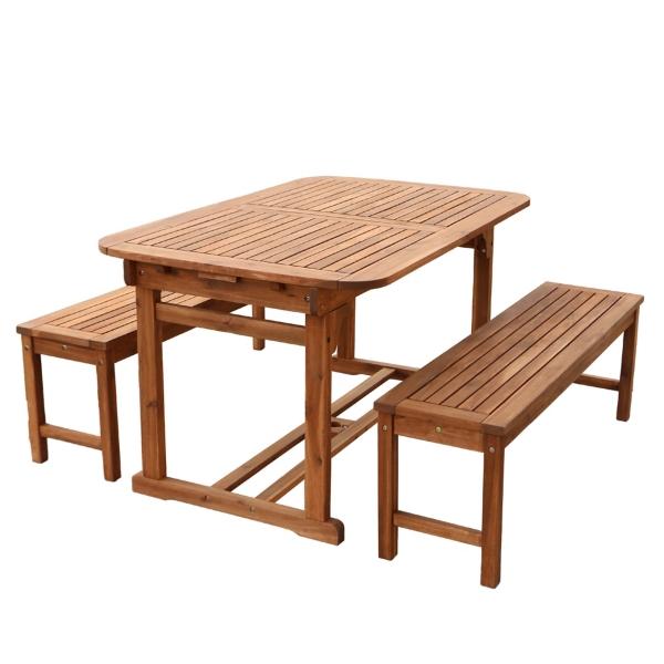 Brown Acacia Wood 3-Piece Outdoor Dining Set