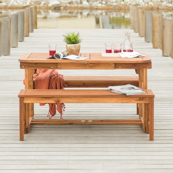 Brown Acacia Wood 3-Piece Outdoor Dining Set