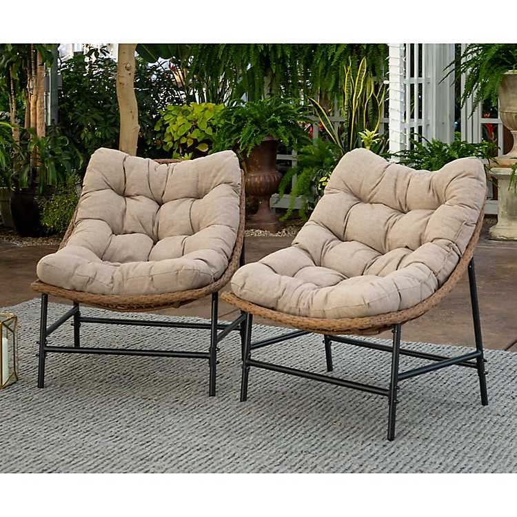 Swell Rattan Scoop Chairs With Cushions Set Of 2 Uwap Interior Chair Design Uwaporg