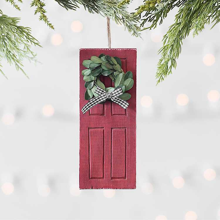 Red Door With Wreath Ornament Kirklands