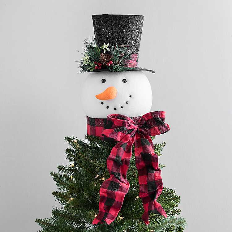 wholesale dealer 6060b cb75f Snowman with Buffalo Check Scarf Tree Topper