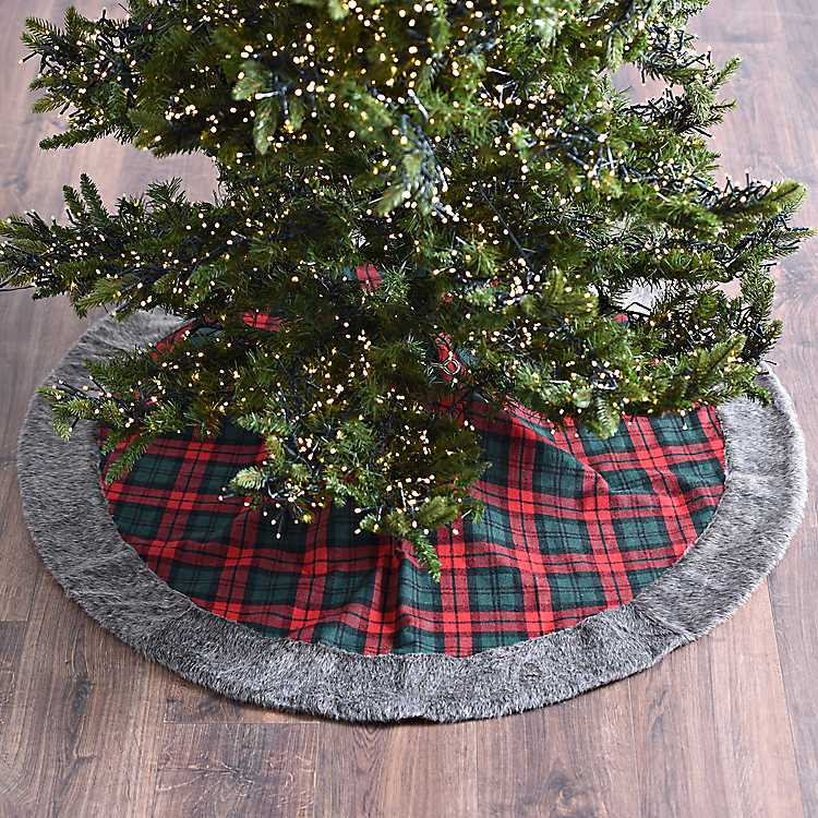 fur trim plaid christmas tree skirt