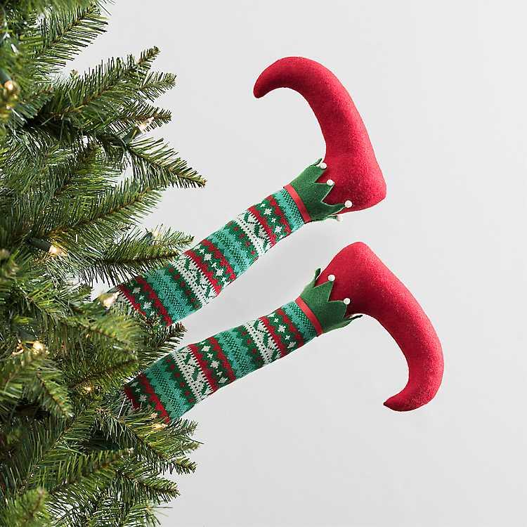 multicolor striped merry elf legs pick - Elf Legs Christmas Decoration