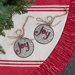 Red Galvanized Joy Ornament, Set of 2