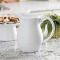 White Ribbed Ceramic Pitcher