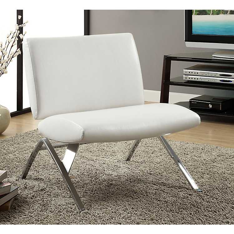 White Faux Leather Accent Chair With Chrome Legs ...