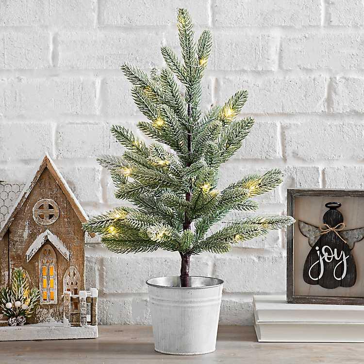 Pre-Lit Mini Christmas Tree in Metal Bucket ...