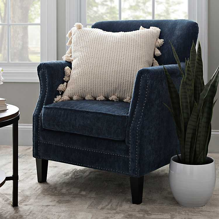Lillian Navy Velvet Nailhead Accent Chair ...