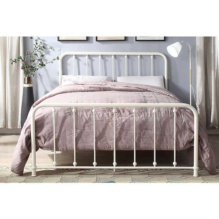 Metal Slat White Full Platform Bed