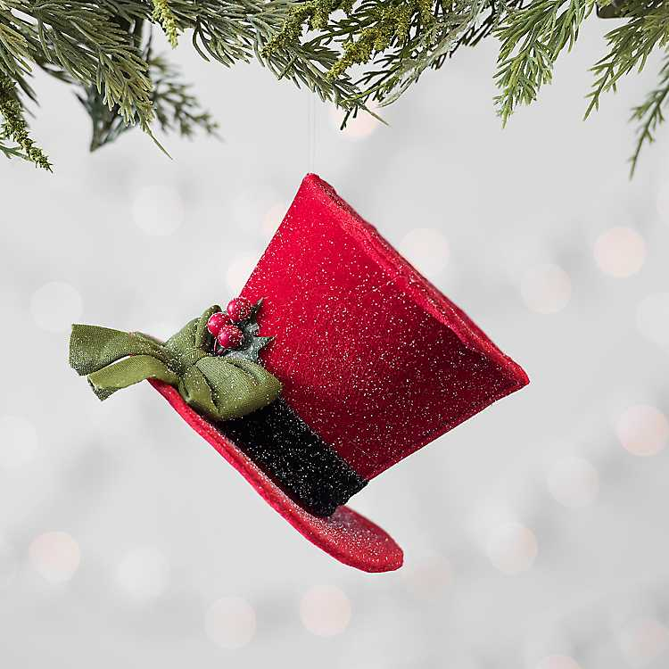red top hat christmas ornament - Top Hat Christmas Decorations