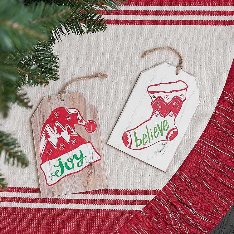 Joy and Believe Christmas Tag Ornament, Set of 2 | Kirklands