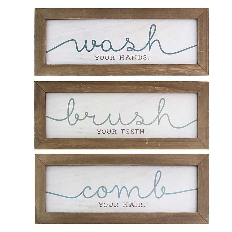 Wash Brush Comb Framed Wall Plaques