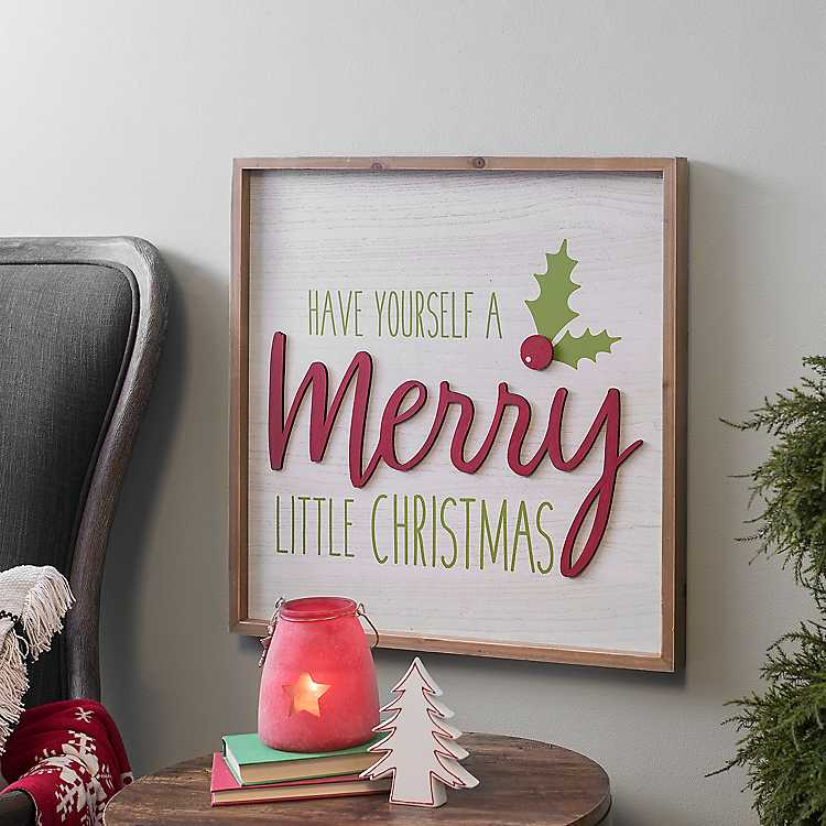Merry Little Christmas Holly Wall Plaque