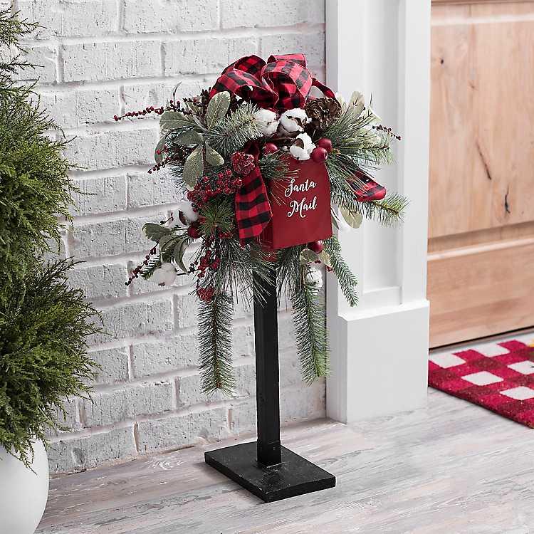 Decorative Christmas Mailbox with Ribbon Greenery ...