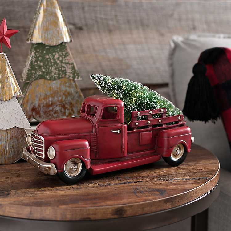 Pre-Lit Red Christmas Truck with Tree | Kirklands