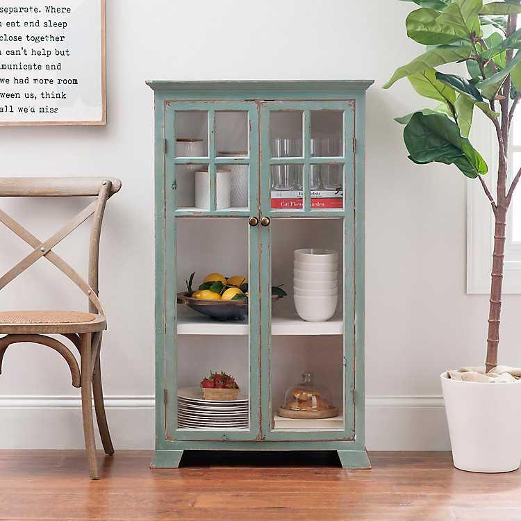 Turquoise Double Wood Cabinet With Glass Doors Kirklands