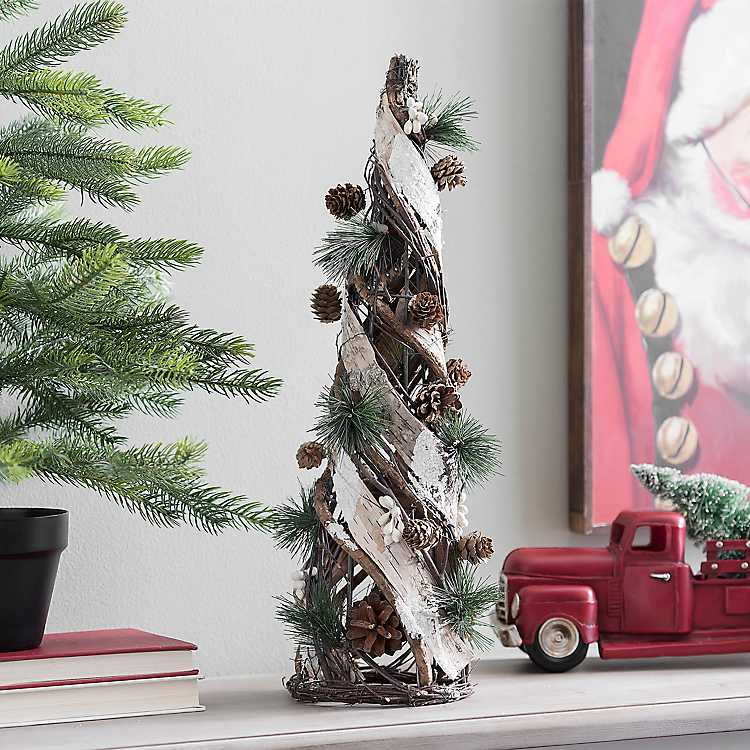 twig birch and pine cone christmas tree 20 in