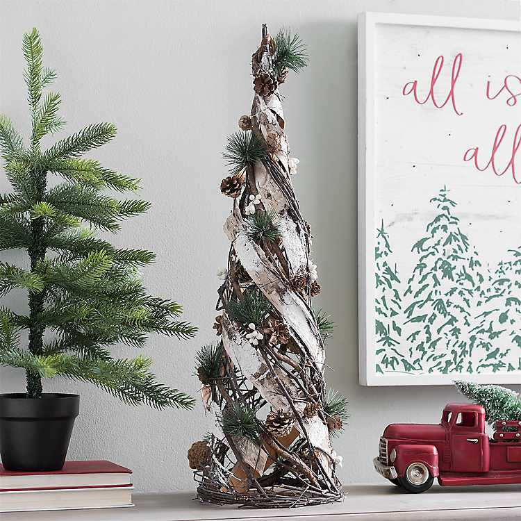 twig birch and pine cone christmas tree 27 in