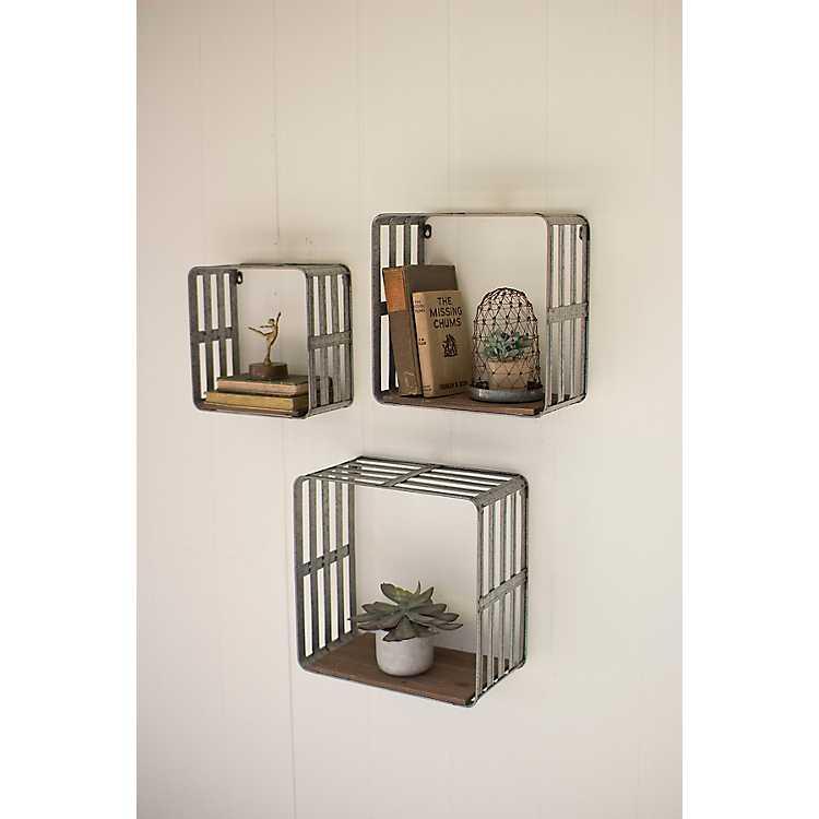 Metal And Slat Wood Crate Wall Shelves