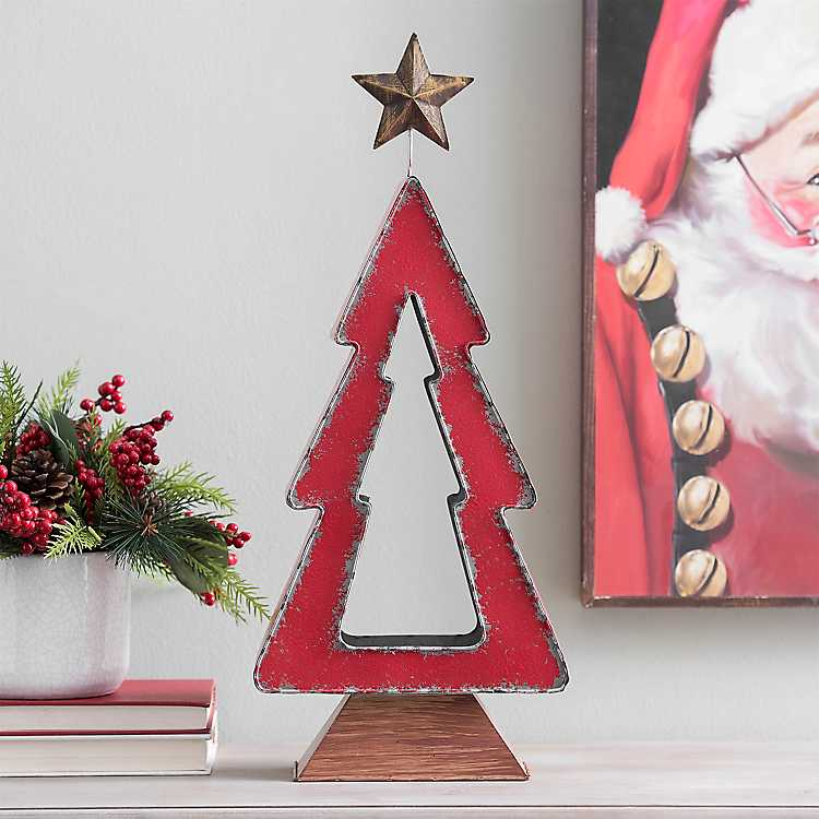 Red Metal Cutout Christmas Tree Candle Holder | Kirklands