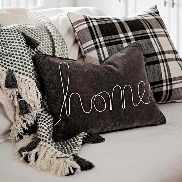 Gray Home Rope Velvet Accent Pillow