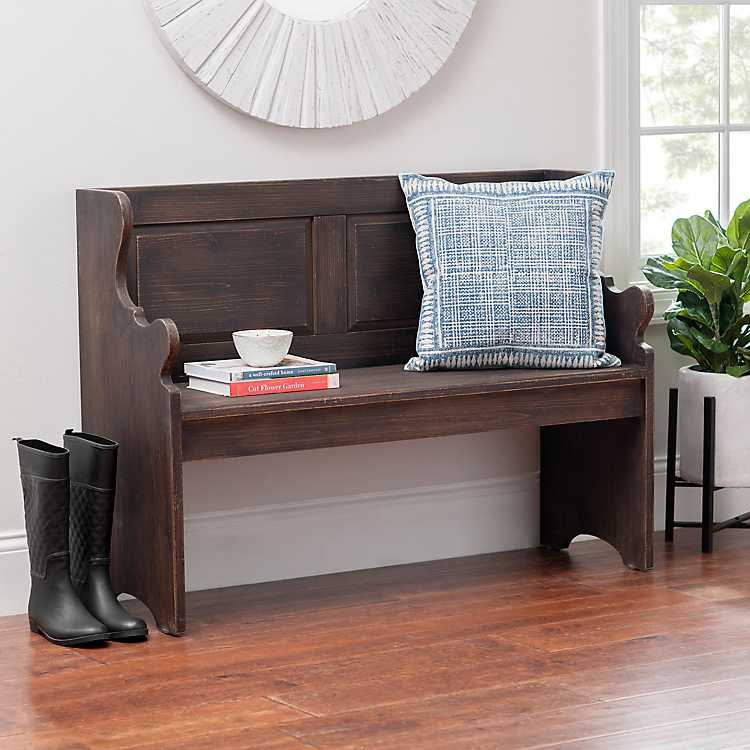 Amazing Dark Wood Finish Pew Bench Andrewgaddart Wooden Chair Designs For Living Room Andrewgaddartcom