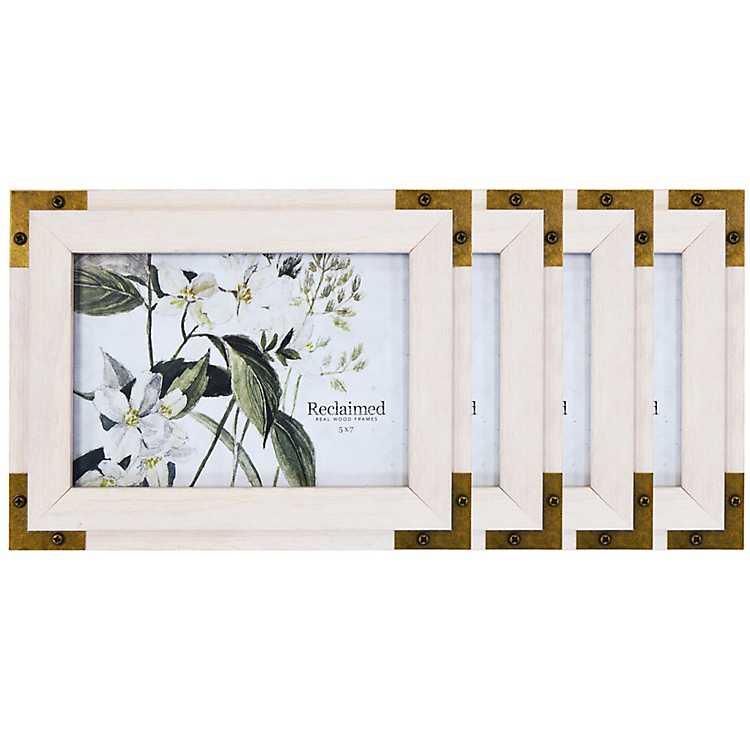 Metal Corner White 5x7 Picture Frames, Set of 4 | Kirklands