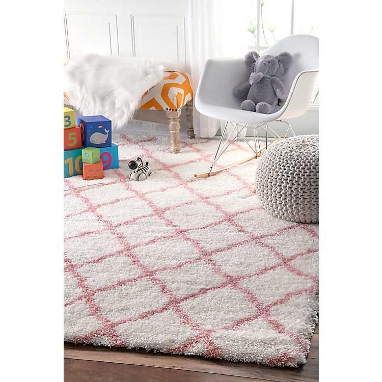 Pink and White Iliza Trellis Area Rug
