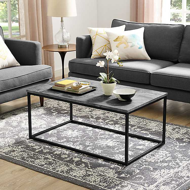 Faux Concrete Coffee Table With Metal Frame