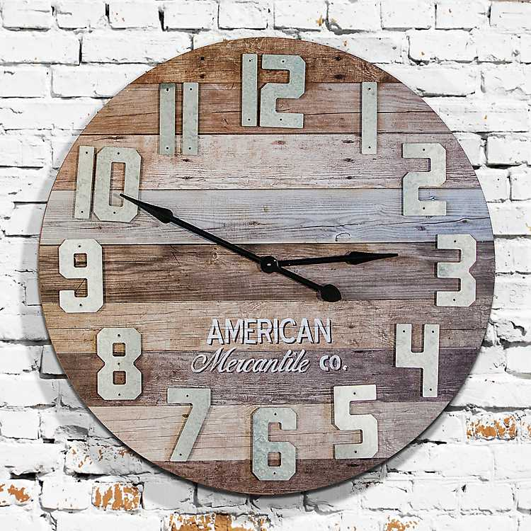 Reclaimed Wood With Metal Numbers Wall Clock