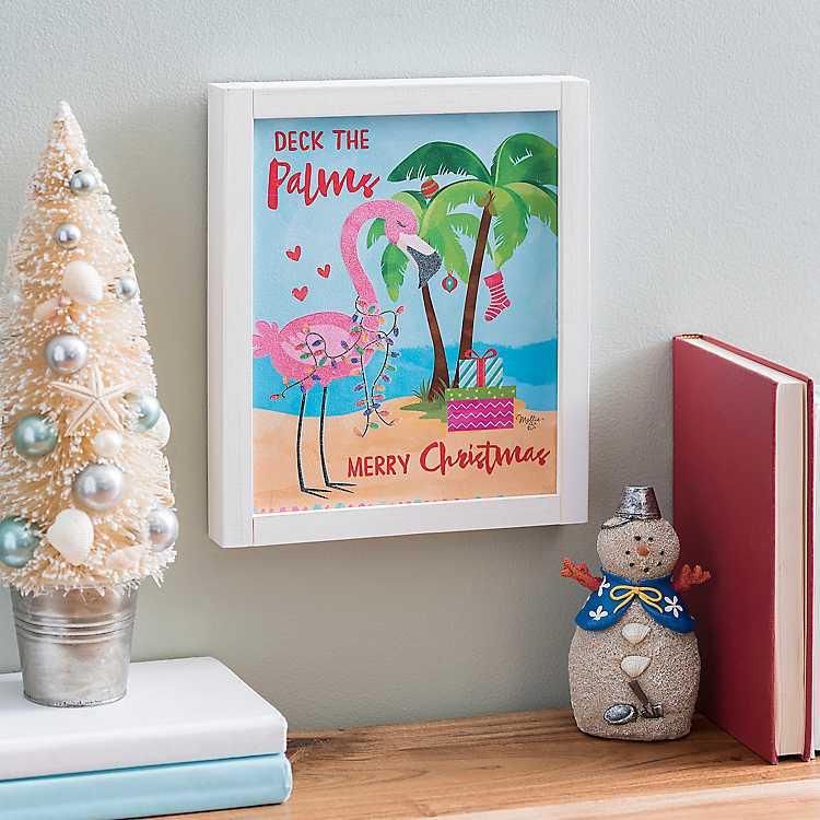 deck the palms tropical christmas framed art print